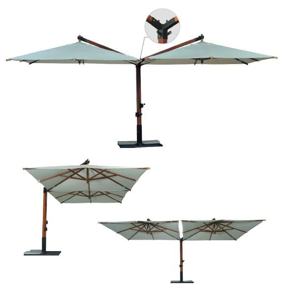 Консольный двухкупольный зонт «Дабл Рим» 4х8м.